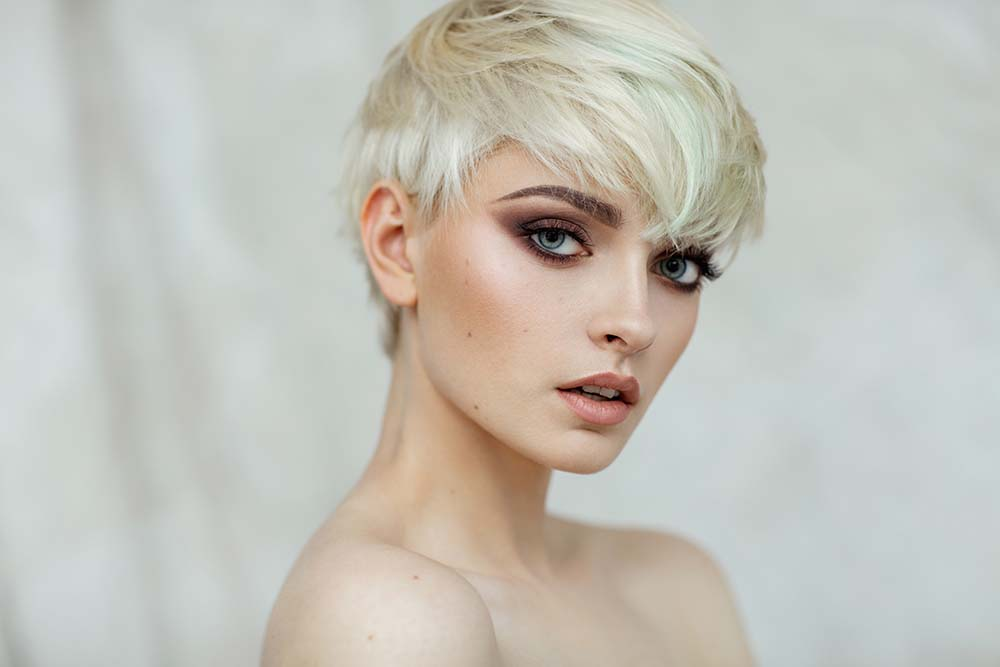 Side Profile of Woman with Blonde Short Hair